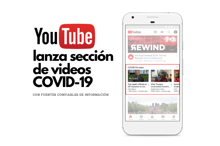 YouTube lanza sección de noticias dedicada a COVID-19