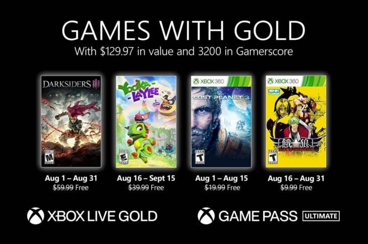 Juegos gratis de Xbox en Games with Gold para agosto de 2021