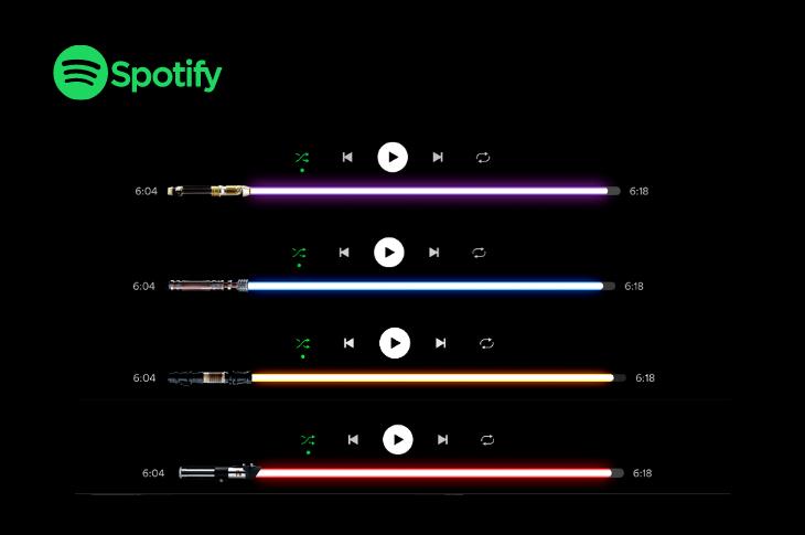 Truco de Spotify Cómo poner espada láser de Star Wars como barra de reproducción