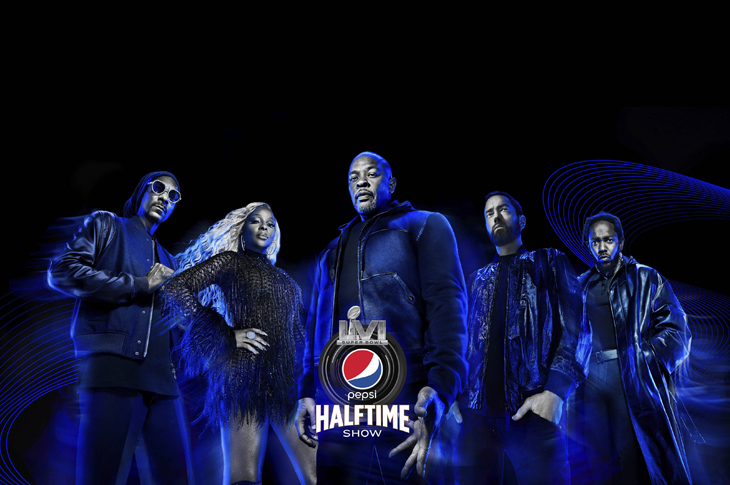 Super Bowl LVI Dr. Dre, Eminem, Snoop Dogg, Kendrick Lamar y M.J. Blige en el show del medio tiempo