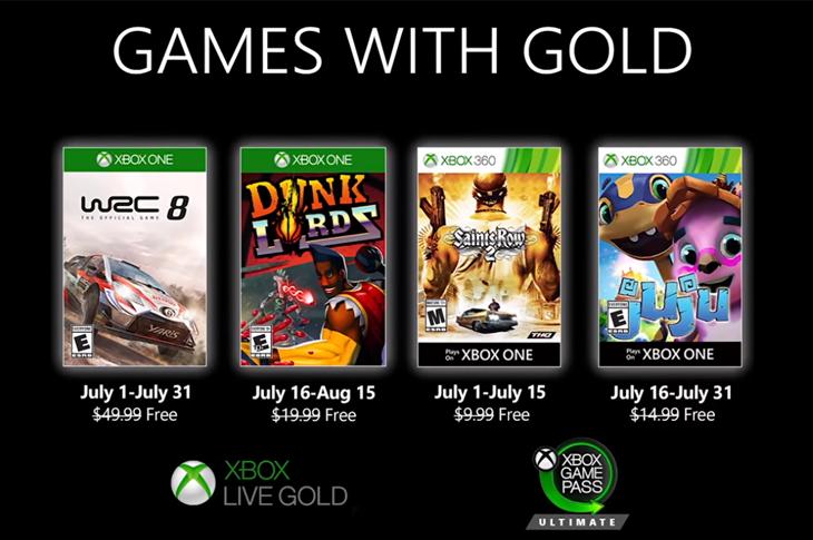 Juegos gratis de Xbox en Games with Gold para julio de 2020
