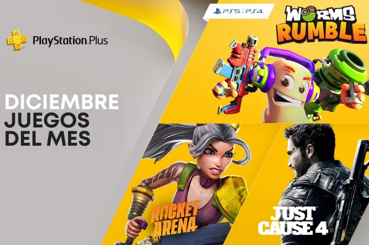 Juegos gratis de PS Plus en Diciembre 2020: Worms Rumble, Just Cause 4 y Rocket Arena