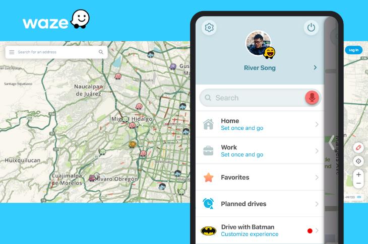 Waze Live Map así puedes guardar tu ruta y cambiar al tema de Batman