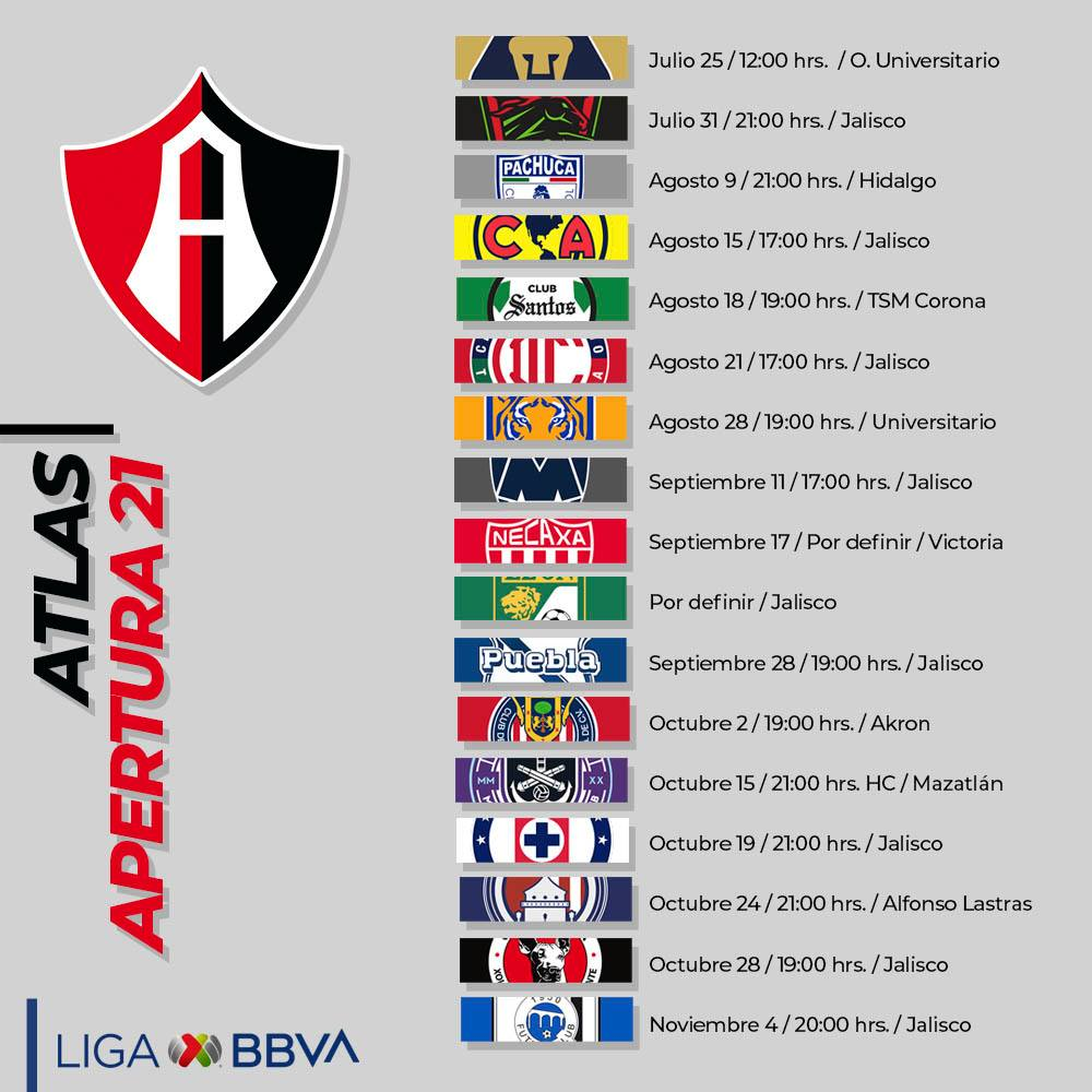 Liga MX: Partidos de Atlas transmitidos por Afizzionados en el Torneo Apertura 2021