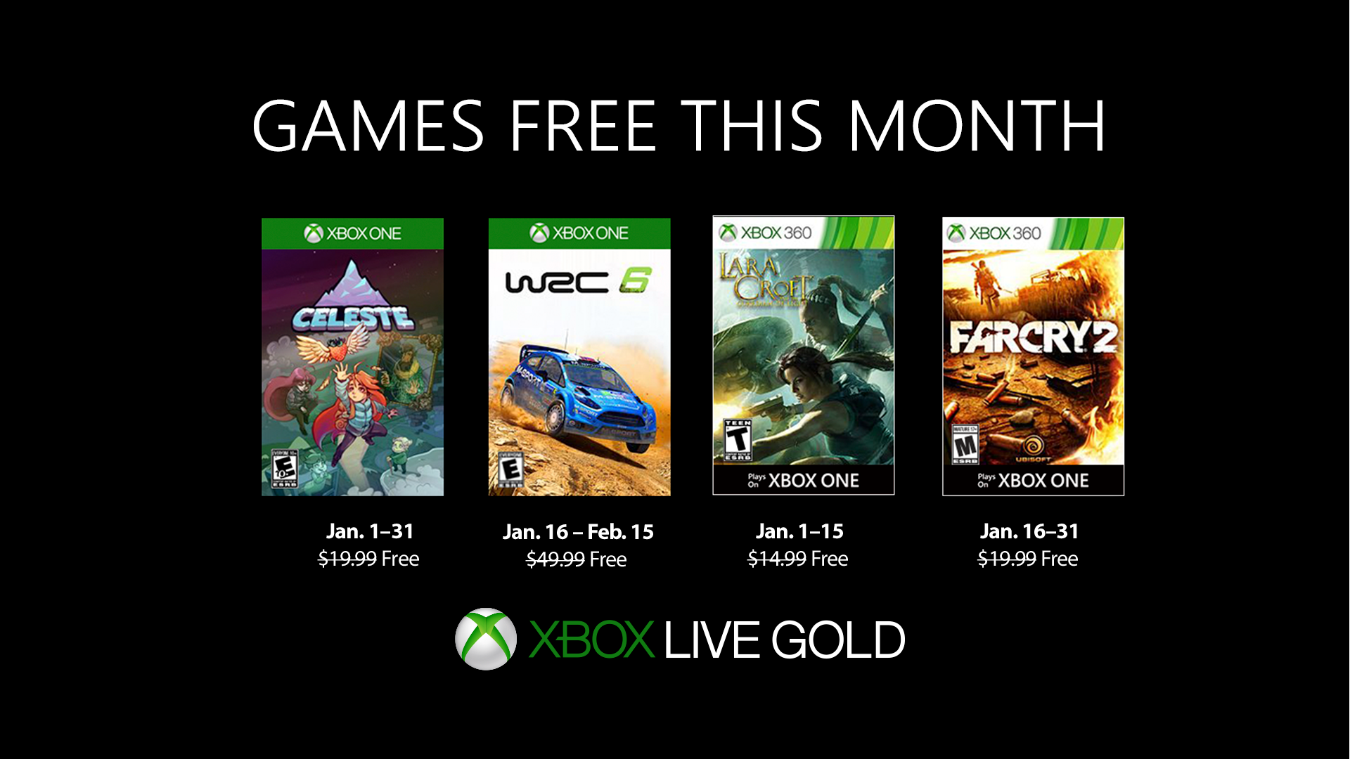 Juegos gratis Xbox Games With Gold para enero de 2019