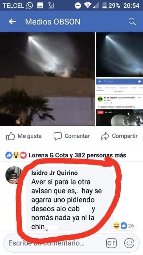 Memes del avistamiento de un cohete en México