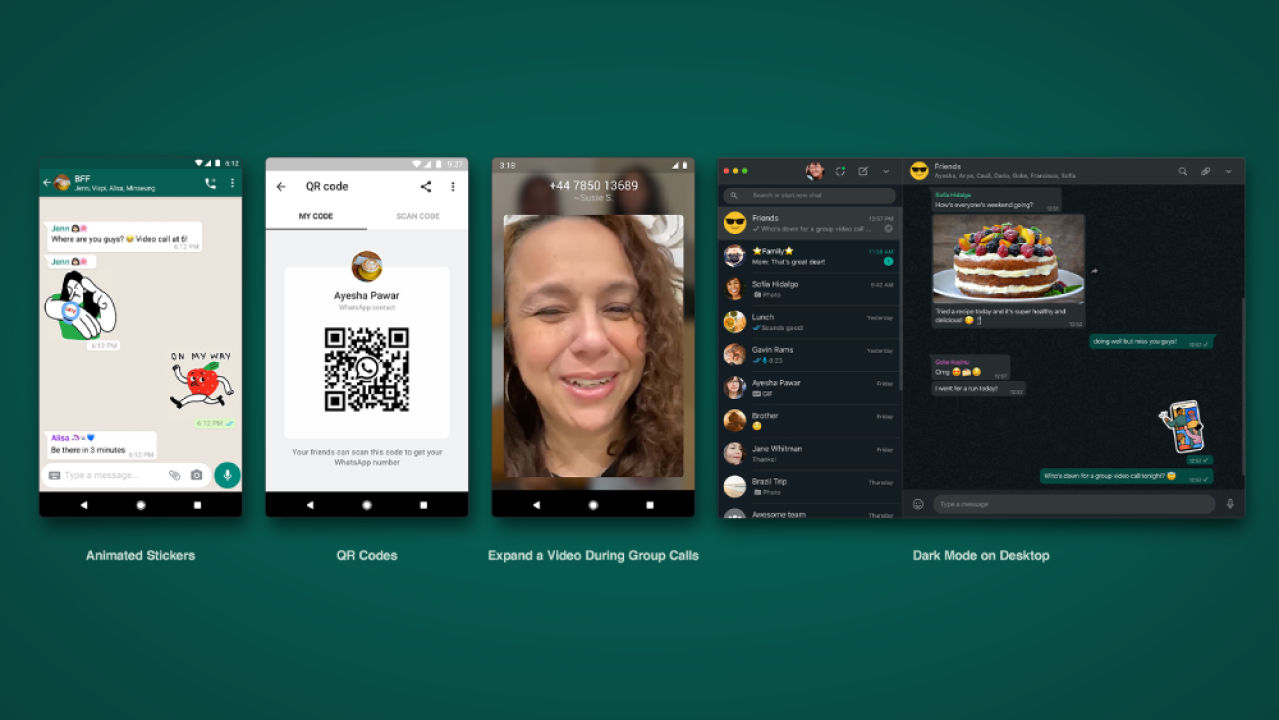 WhatsApp presenta stickers animados, códigos QR