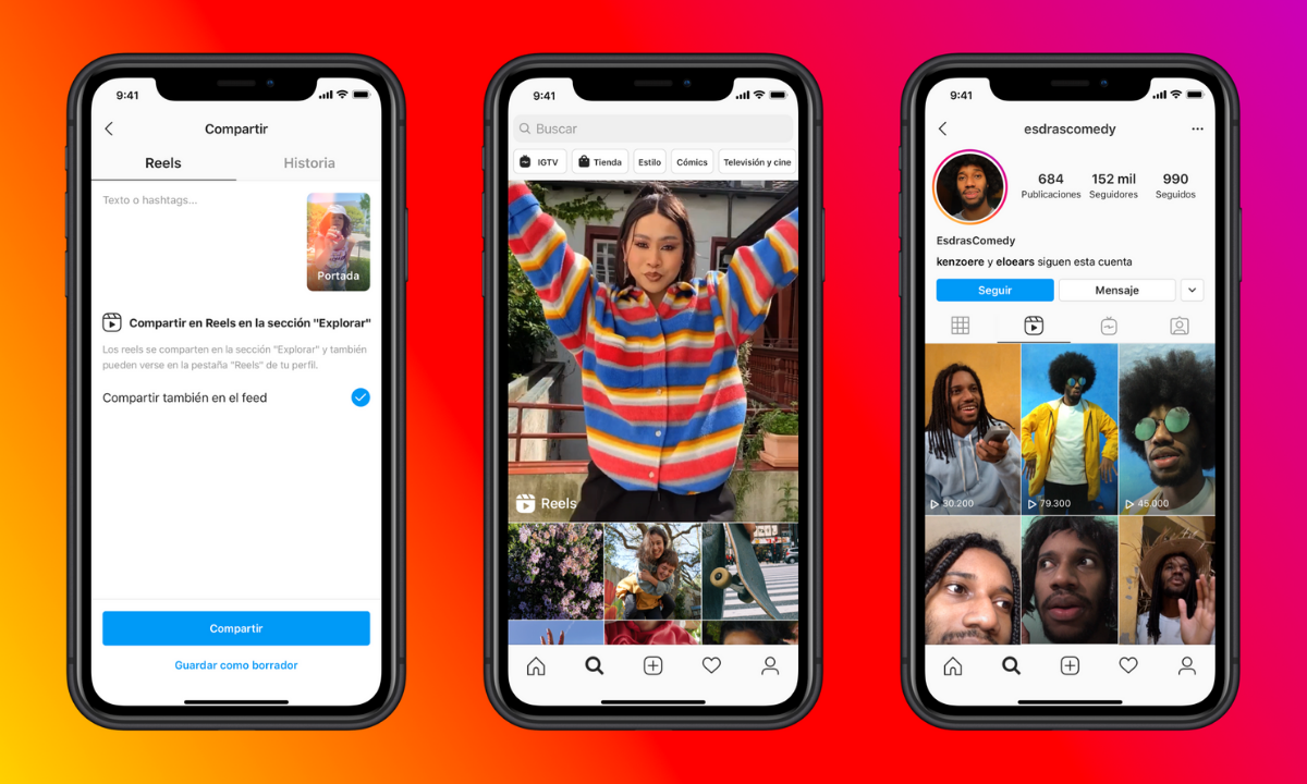 Reels es la respuesta de Facebook para competir con la app de TikTok. Se ha diseñado esta función para que puedas crear y editar vídeos cortos de hasta 15 segundos, se aloja en la cámara de Instagram.