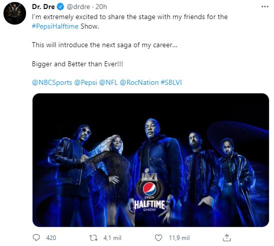 Dr. Dre en el show de medio tiempo del Super Bowl