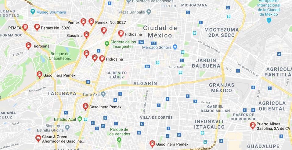 Google Maps mapa de gasolineras en funcionamiento