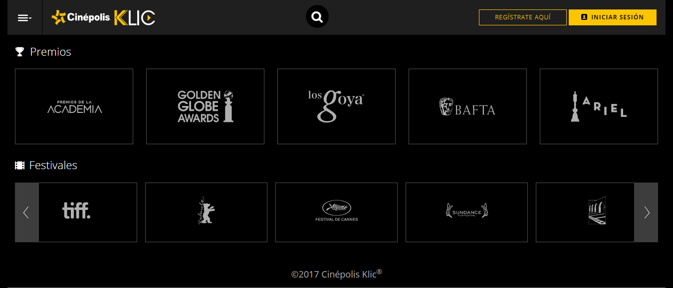 Lista de festivales y premios de Cinépolis Klic