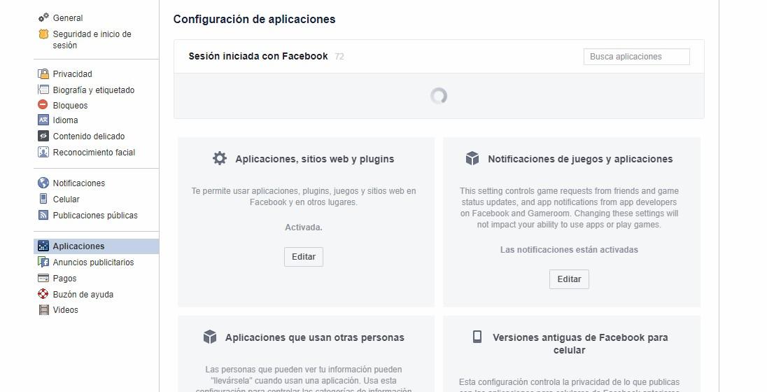 Desligar apps de Facebook