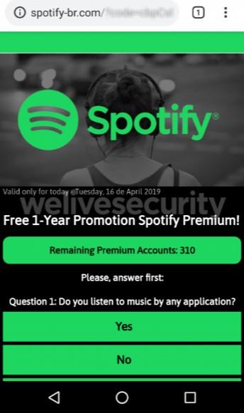 Engaño en WhastApp sobre Spotify Premium gratis