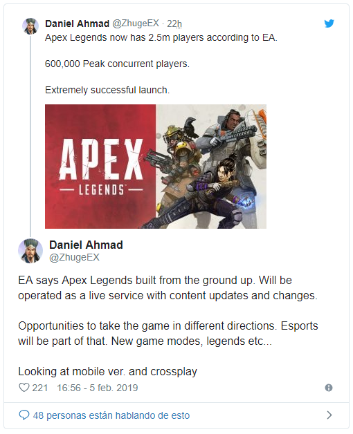 Apex Legends es un éxito