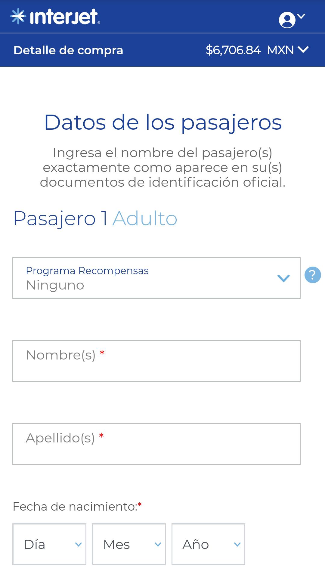 Datos para comprar en Interjet