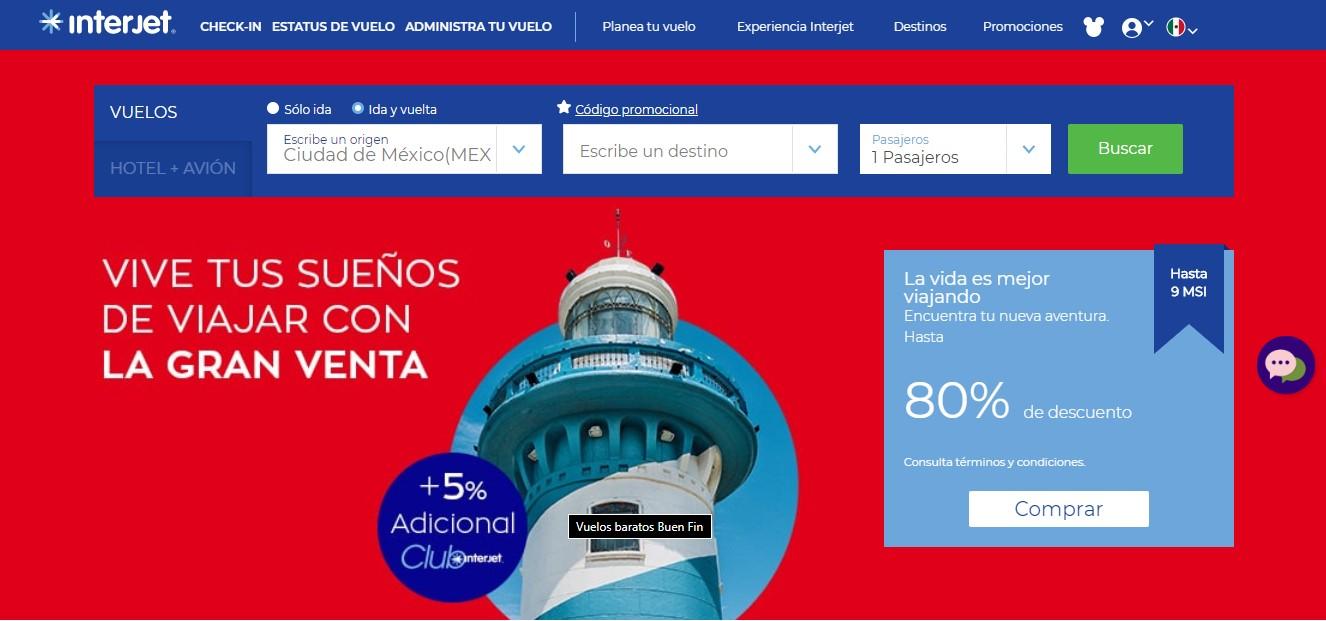 La gran venta de Interjet con 80% de descuento