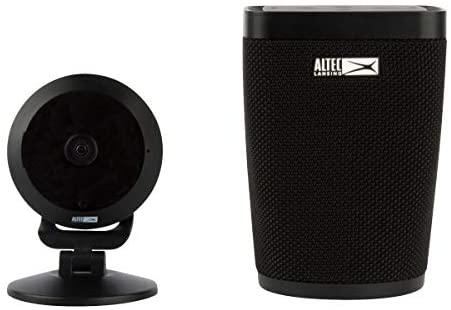 Bocina inteligente y Monitor de Seguridad Altec con cámara de vigilancia.