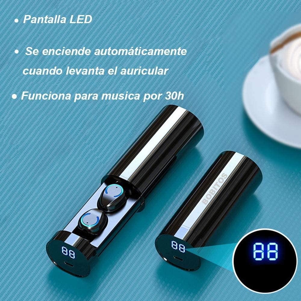 Audífonos inalámbricos Bobitos con pantalla led que muestra la batería restante.