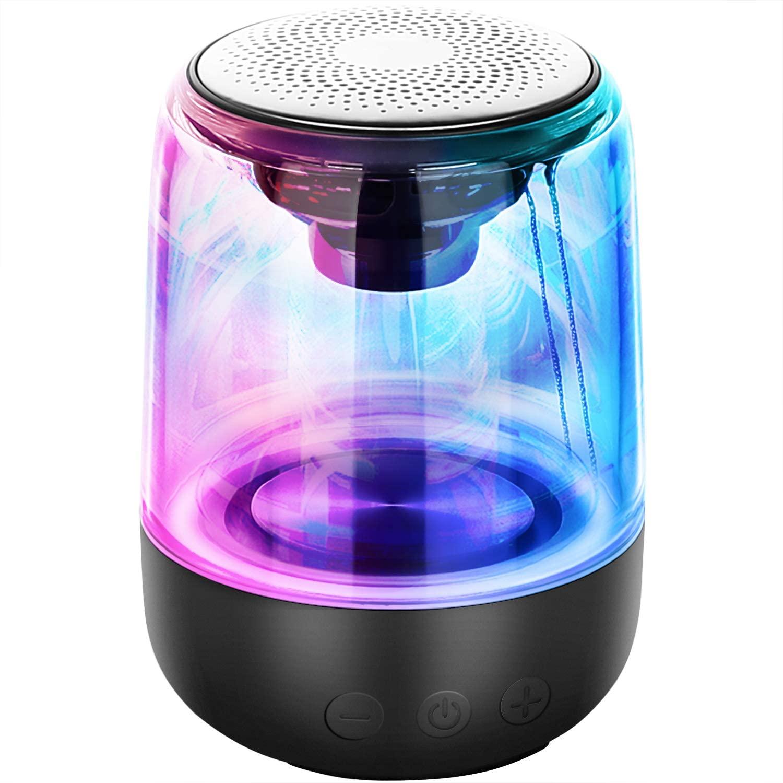 Bocina inalámbrica con 7 temas de luz LED y conexión Bluetooth dual
