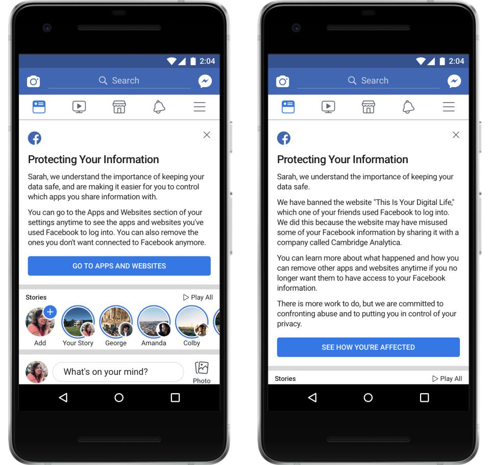 Facebook notifica a los afectados por Cambridge Analytica