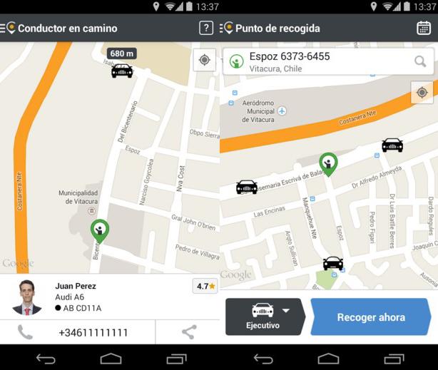 Interfaz de Cabify en Android