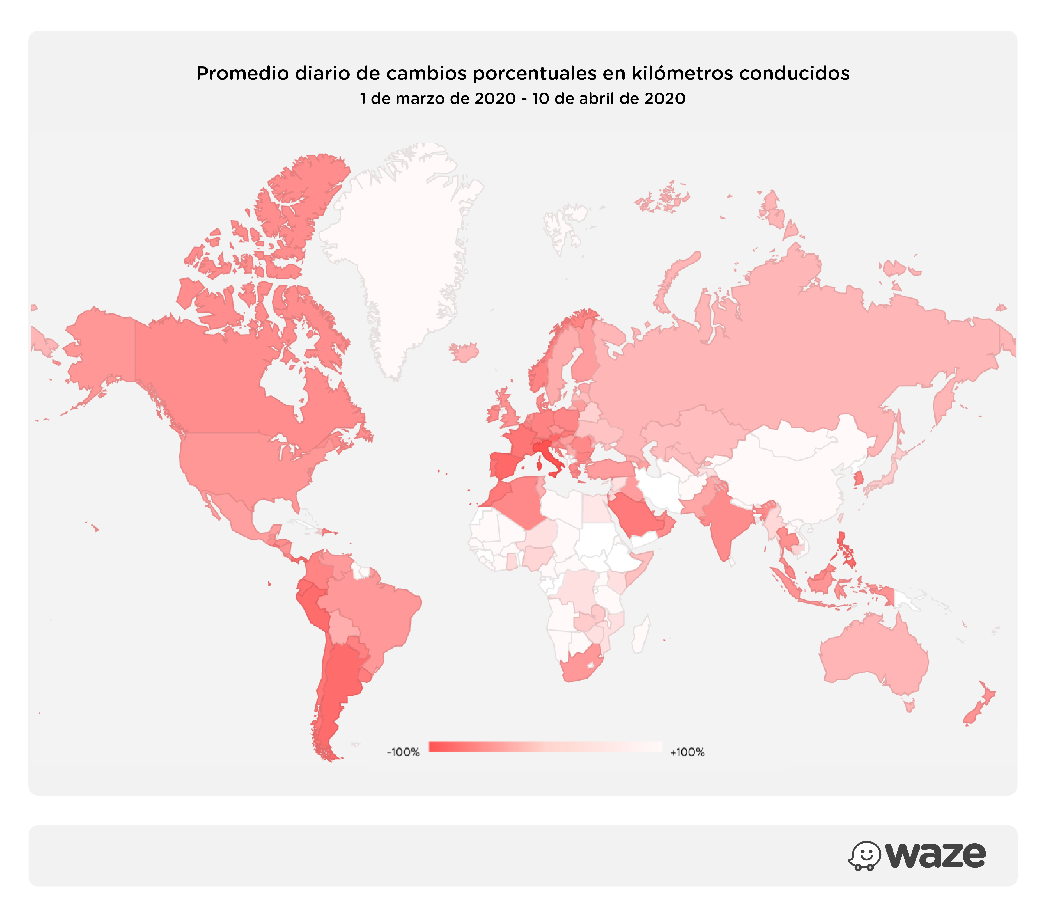 Promedio diario de cambios porcentuales en kilómetros conducidos entre marzo y abril de 2020, según Waze app.