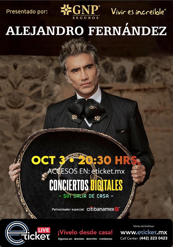 Concierto Irrepetible de Alejandro Fernández vía streaming.