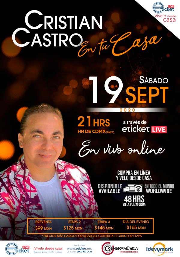 Concierto de Cristian Castro vía streaming.