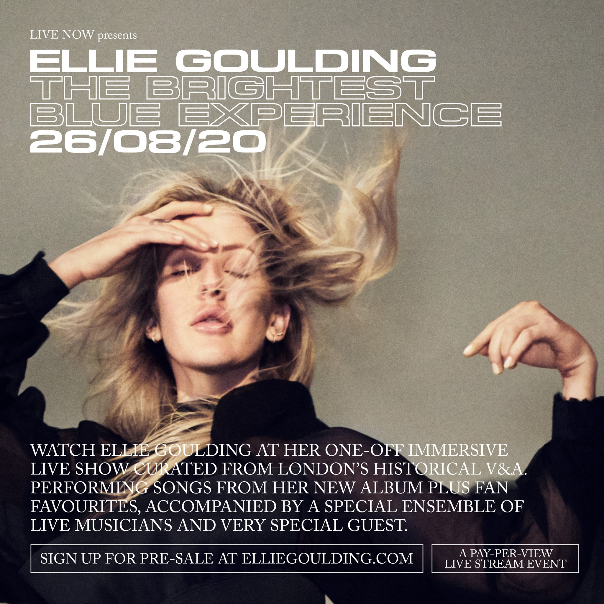 Ellie Goulding presenta su concierto en línea The Brightest Blue Experience.