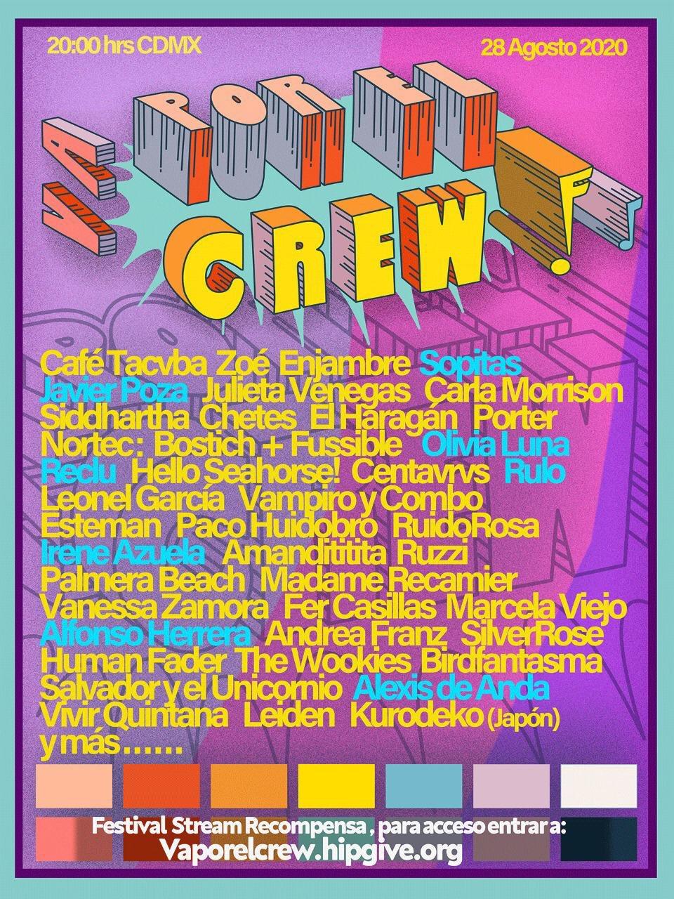 Va Por El Crew Festival Virtual, cartel con artistas que se presentarán.