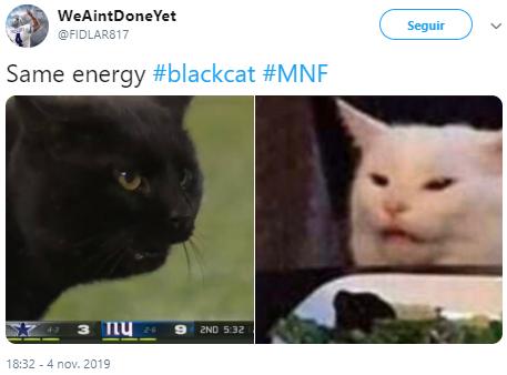Memes del gato negro en el partido de Cowboys vs Giants