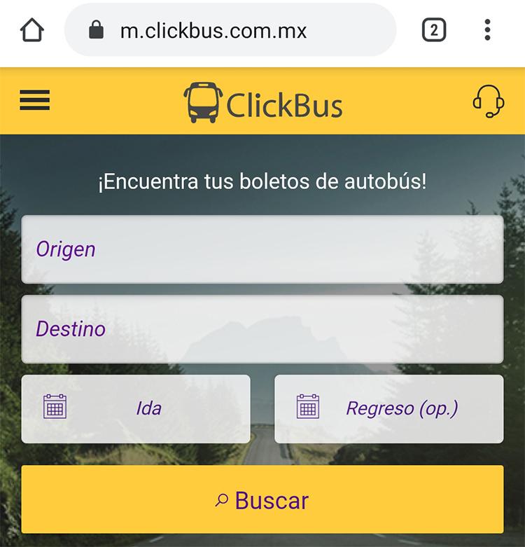 Buscador de rutas de ClickBus para comprar boletos de autobús