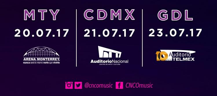 Fechas oficiales de la gira en México