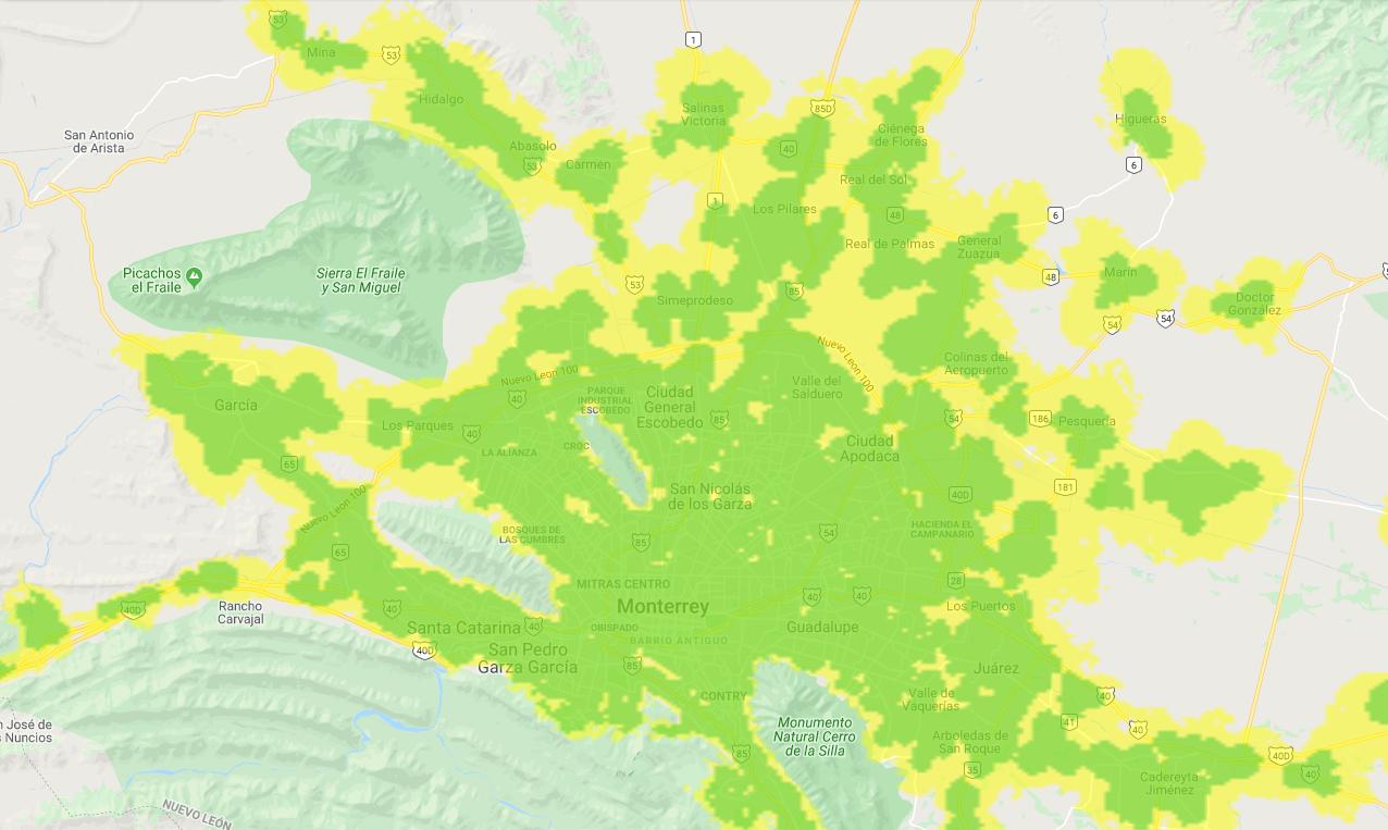 Mapa de cobertura 3G de Movistar en México