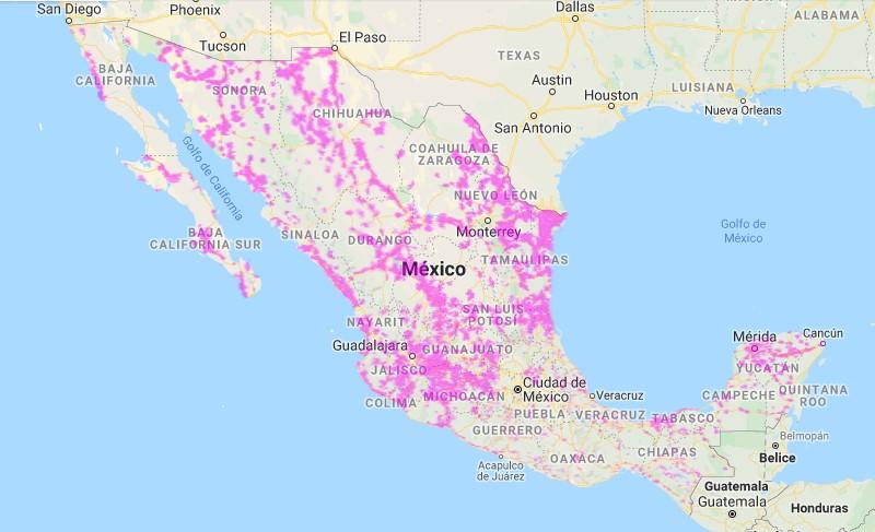 Mapa de cobertura extendida de Movistar en México
