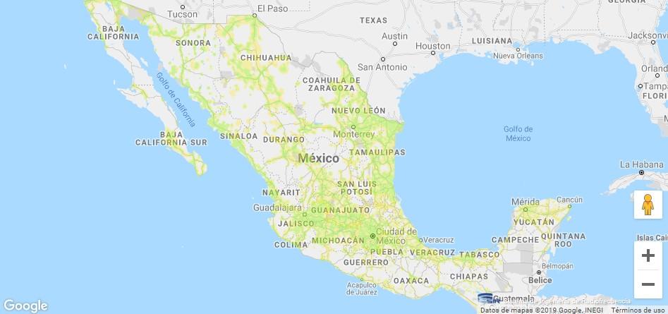 Mapa de cobertura 3G de Telcel