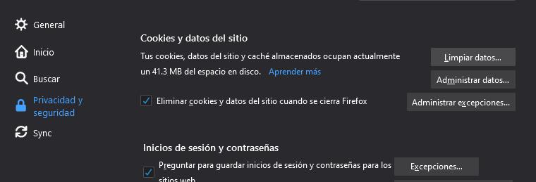 Eliminar cookies y datos del sitio cuando se cierra Firefox.