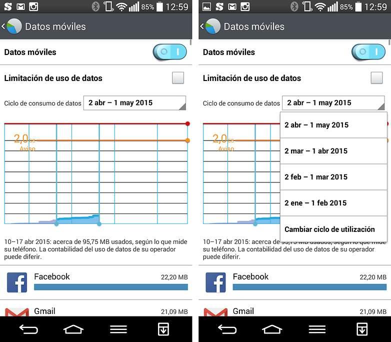 Screenshot del gestor de datos móviles en Android