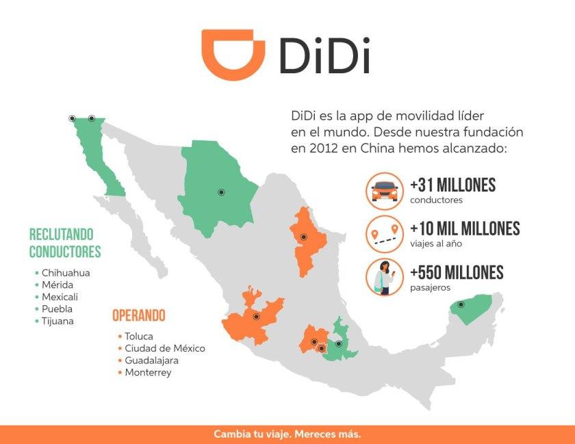 Mapa de cobertura Didi en México