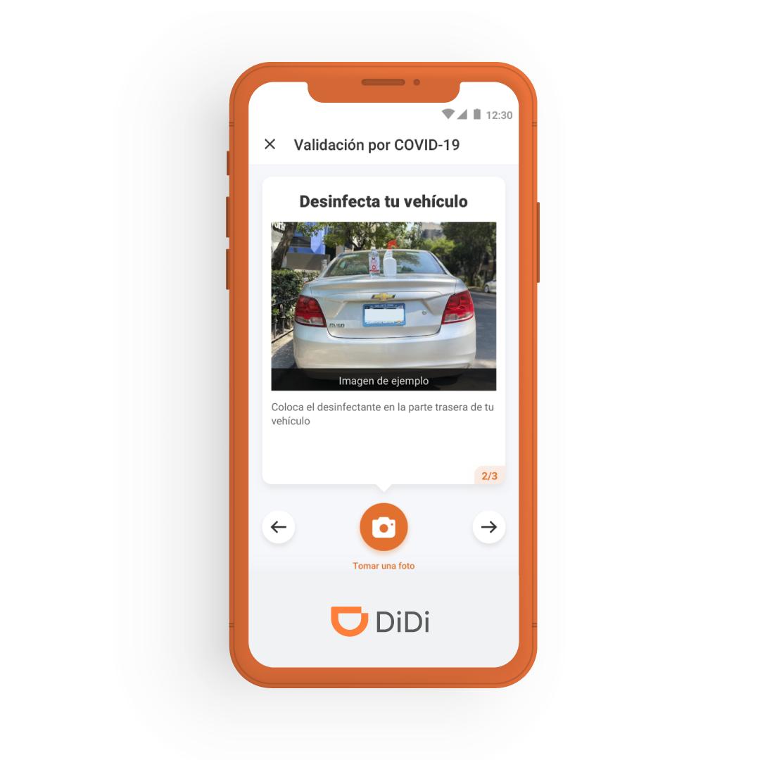 El protocolo para los conductores incluye subir evidencia fotográfica, la cual es analizada por los sistemas de DiDi Prevent para verificar que los vehículos son desinfectados adecuadamente