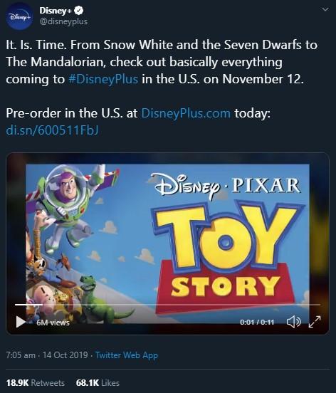 Disney Plus Catálogo - Anuncio desde Twitter