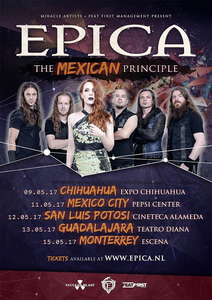 Cartel oficial de la gira de Epica en México