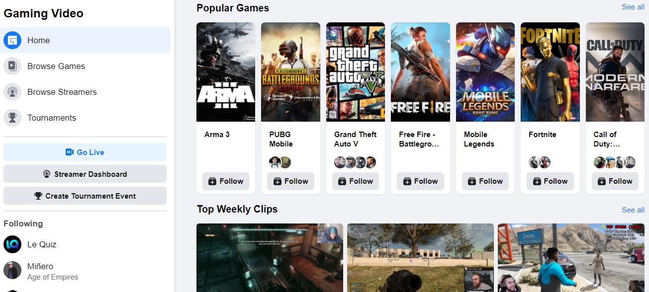 Al unirte a Facebook Gaming puedes competir con amigos al crear torneos de tus videojuegos favoritos.
