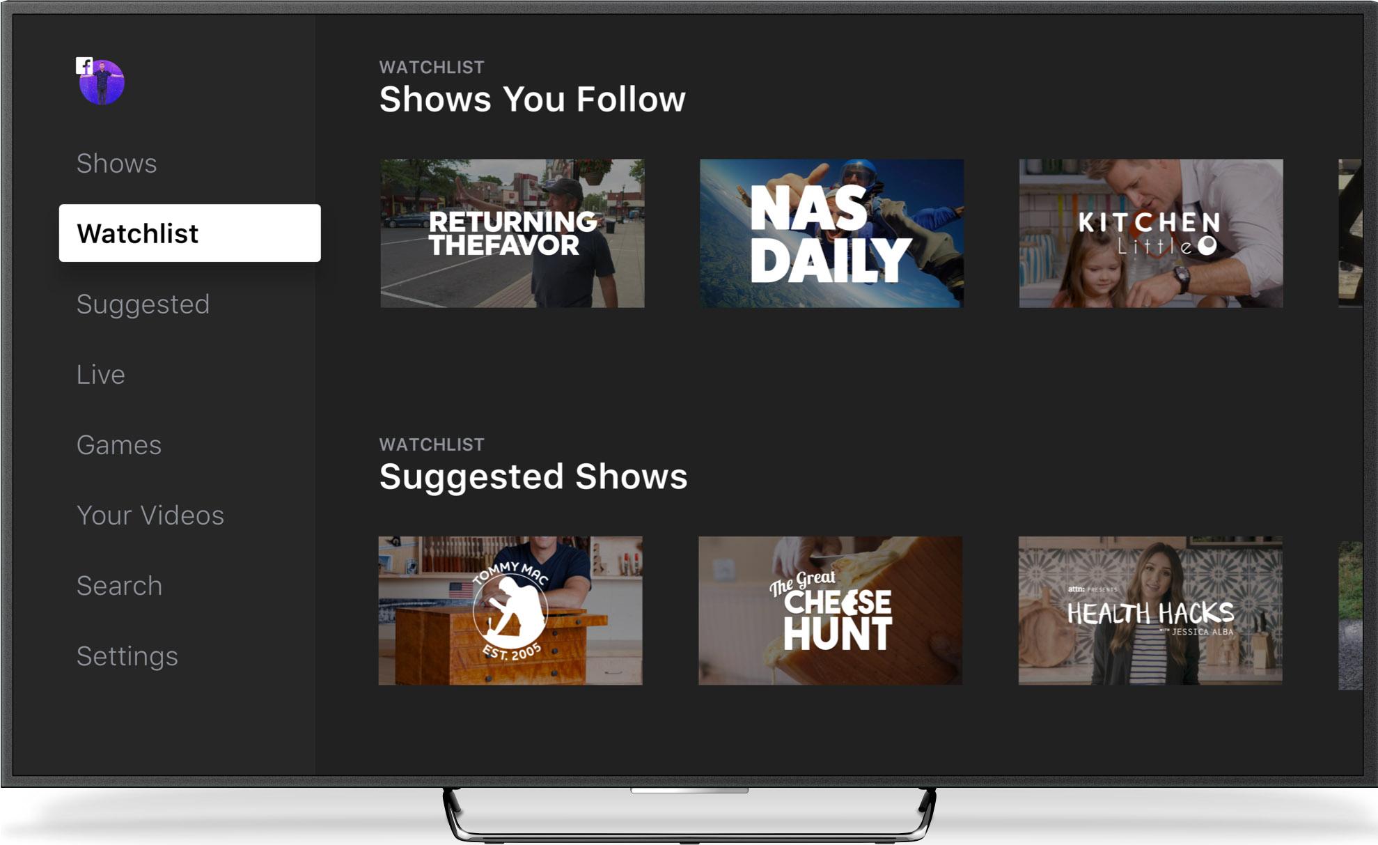 Facebook Wtach en apps para Smart TVs