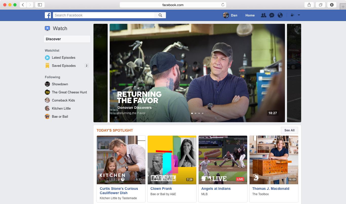 Facebook Watch en PC