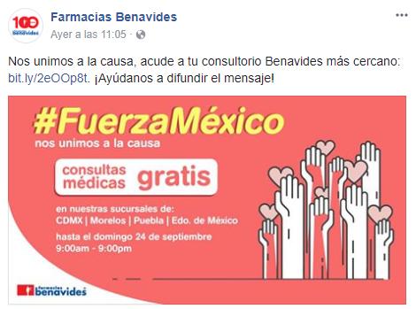Comunicado ayuda Farmacias Benavides