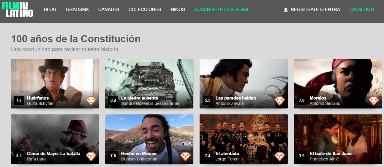 Screenshot de la página principal de FilminLatino
