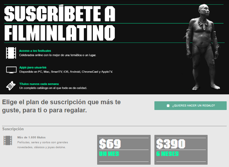 Screenshot de la página de suscripción de FilminLatino