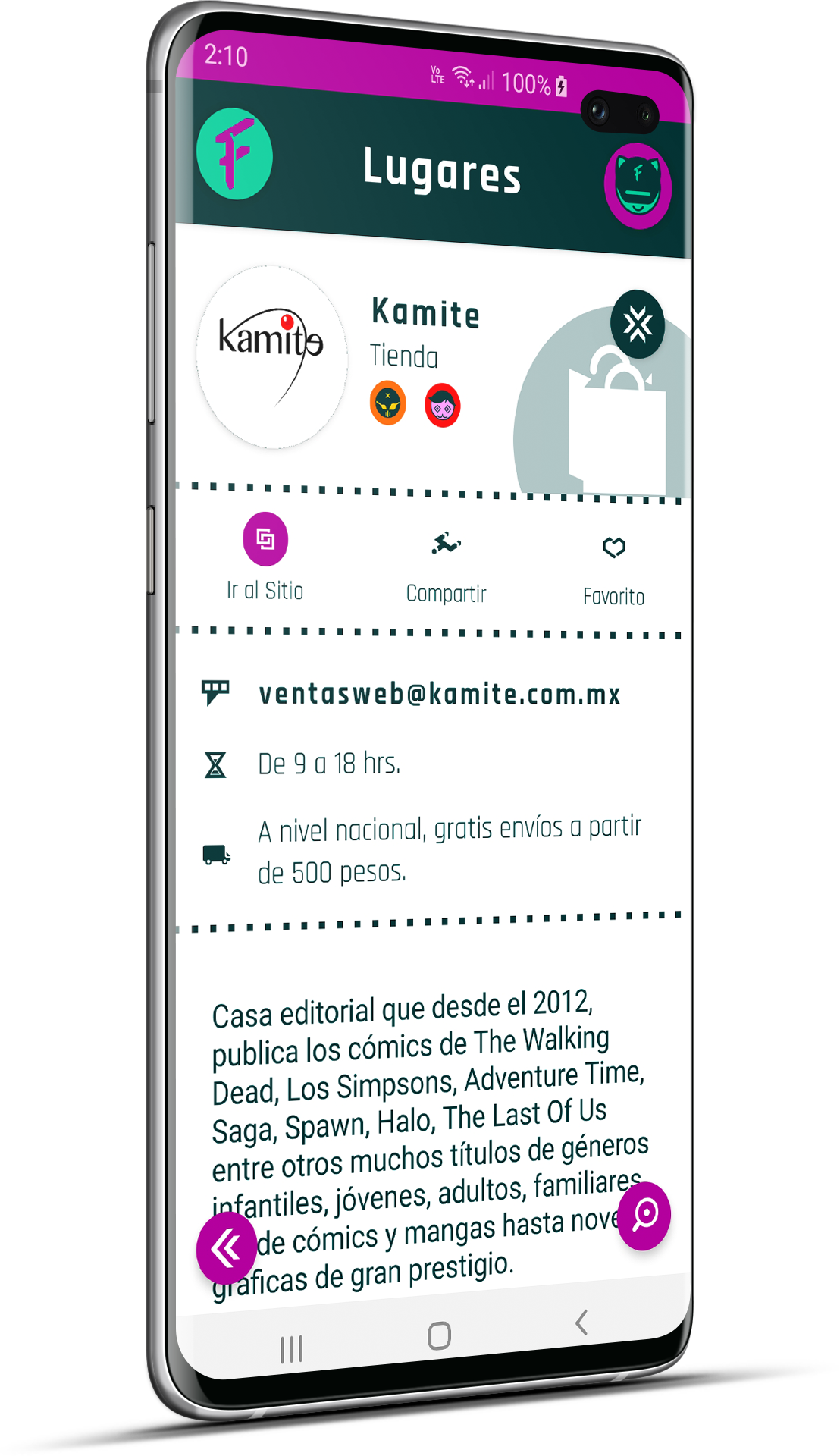 La app Frik-in estará promoviendo Lugares En Línea y Lugares con Servicio a Domicilio