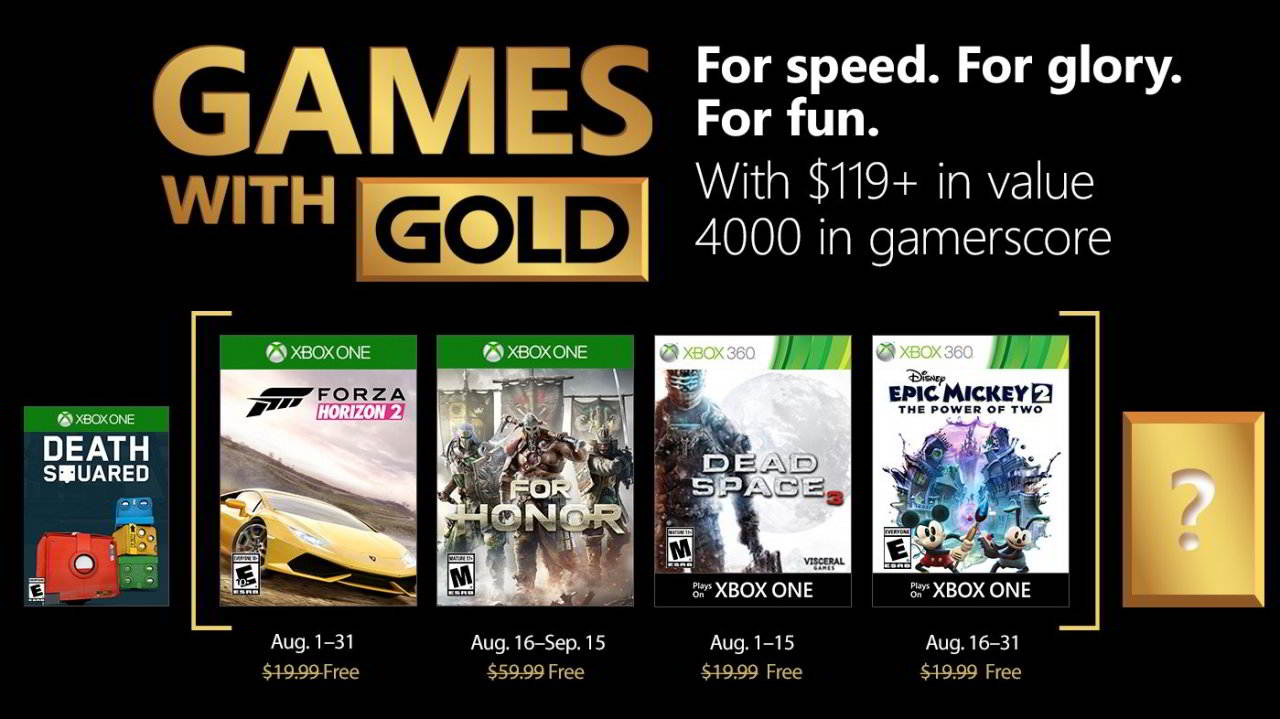 Games With Gold juegos gratis para Agosto en Xbox One